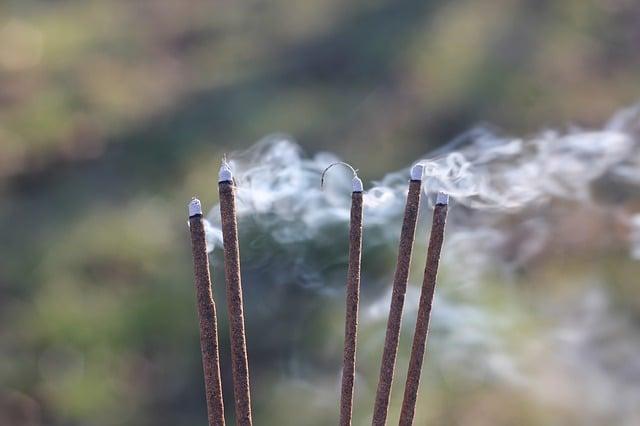 Sandalwood incense stickis burning